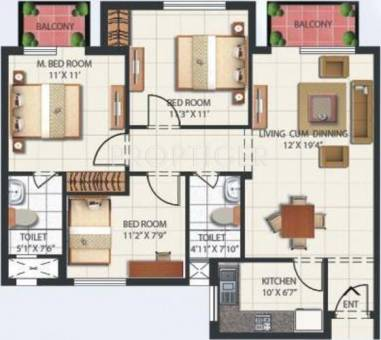 1350 Sq Ft 3 Bhk 2t Apartment For Sale In Mahindra