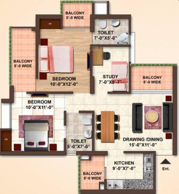 Samiah Green View Apartment (2BHK+2T (1,120 sq ft) + Study Room 1120 sq ft)