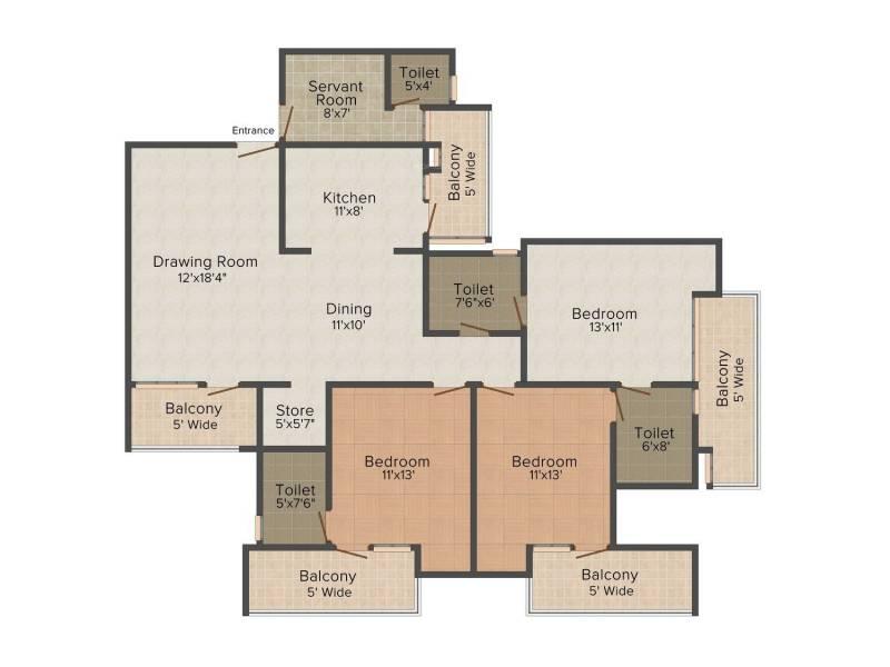 Samiah Green View Apartment (3BHK+4T (1,860 sq ft) + Servant Room 1860 sq ft)