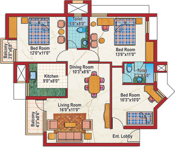 Purvanchal Silver City 2 (3BHK+2T (1,265 sq ft) 1265 sq ft)