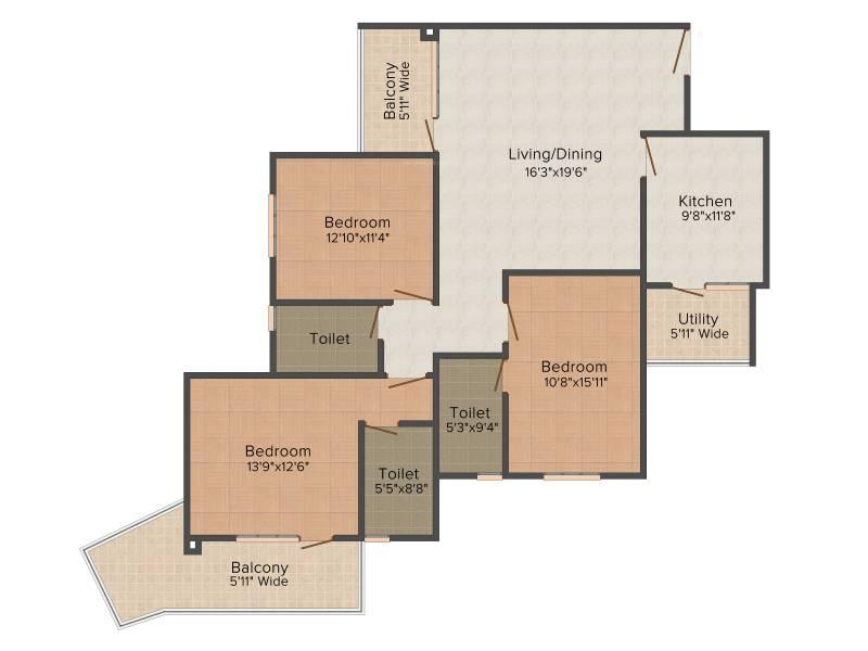 HM Indigo (3BHK+3T (1,814 sq ft) 1814 sq ft)