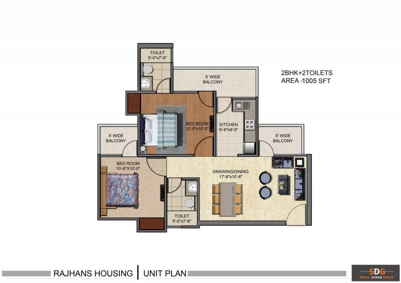 Rajhans Residency (2BHK+2T (997 sq ft) 997 sq ft)