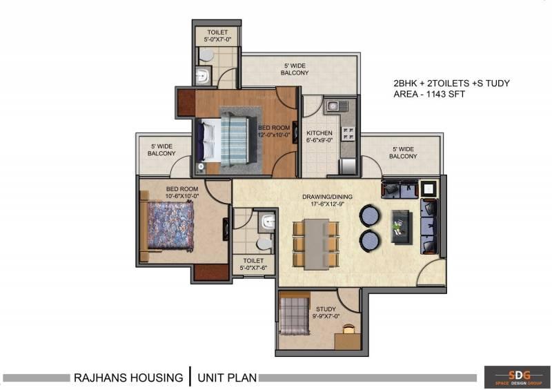Rajhans Residency (2BHK+2T (1,133 sq ft)   Study Room 1133 sq ft)