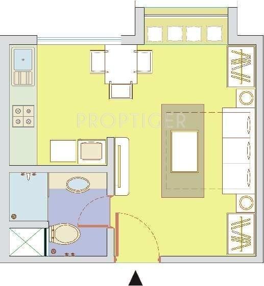 350 Sq Ft Studio Apartment: 360 Sq Ft 1 BHK Floor Plan Image