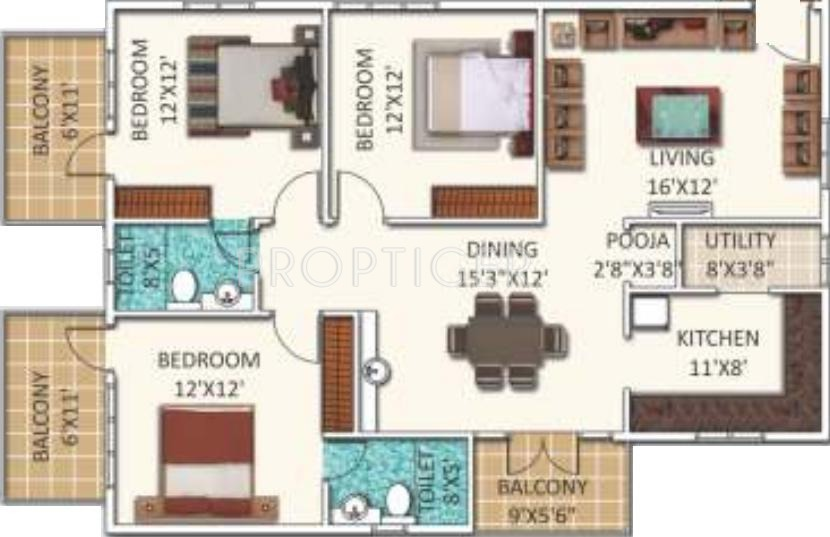 1300 sq ft 3 bhk 2t apartment for sale in ssvr urban flora for Cost to build 1300 square foot house