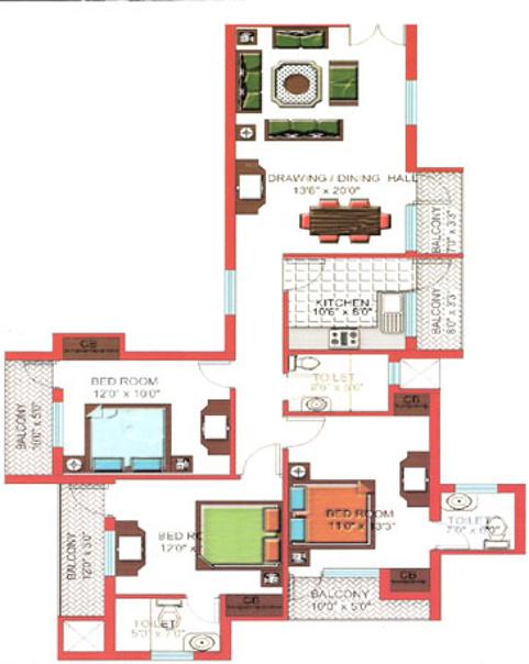 Quantum residency in raj nagar extension ghaziabad for X2 residency floor plan