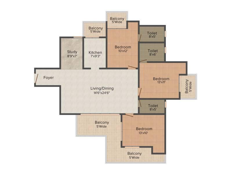 Morpheus Bluebell (3BHK+3T (1,550 sq ft)   Study Room 1550 sq ft)