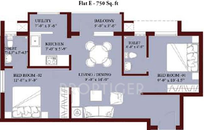 Jones Blossom Apartments 2bhk 2t 750 Sq Ft