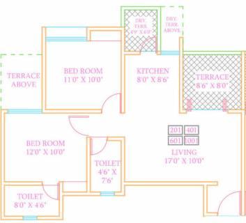 1165 Sq Ft 2 Bhk Floor Plan Image Arv Group Royale Available For Sale Proptiger Com