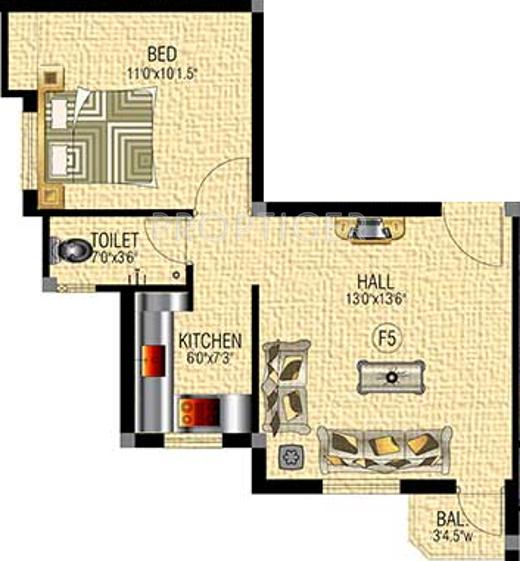 SM Royal Homes (1BHK+1T (551 sq ft) 551 sq ft)