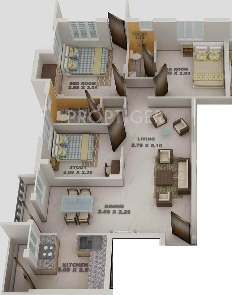 1000 Sq Ft 3 Bhk 3t Apartment For Sale In Blue Print