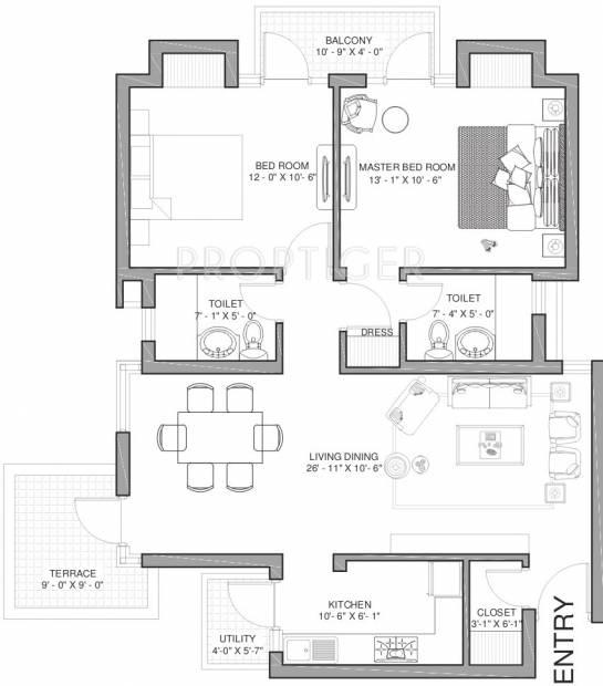 1150 Sq Ft 2 Bhk Floor Plan Image Sai Krishna Welfare