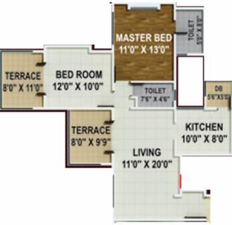 950 Sq Ft 2 Bhk Floor Plan Image Arv Group Royale Available For Sale Proptiger Com