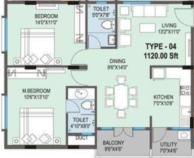 1120 sq ft 2 bhk 2t apartment for sale in slv developers for 1120 westchester place floor plan