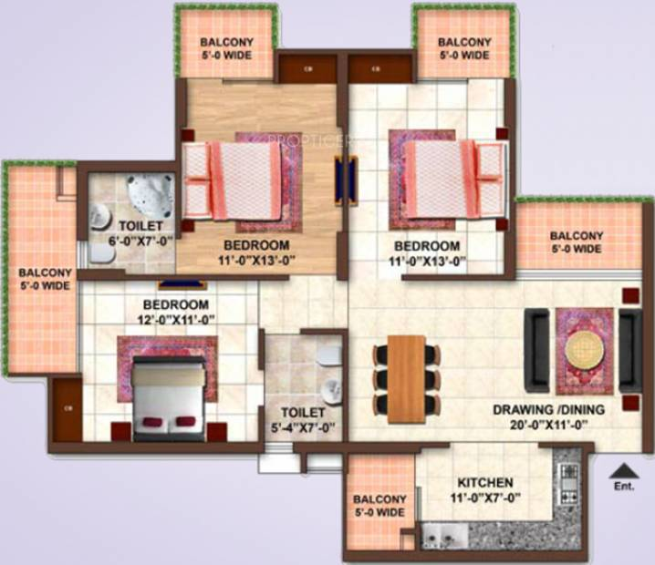 Samiah Green View Apartment (3BHK+2T (1,450 sq ft) 1450 sq ft)