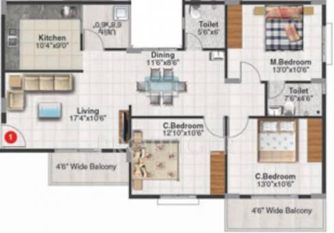 Ushodaya pallavi in kr puram bangalore price location for 1125 sq ft floor plan