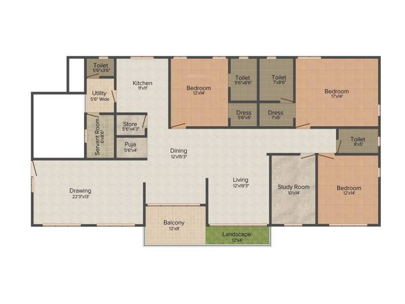 Shanta Fortune Icon (3BHK+4T (3,005 sq ft)   Study Room 3005 sq ft)