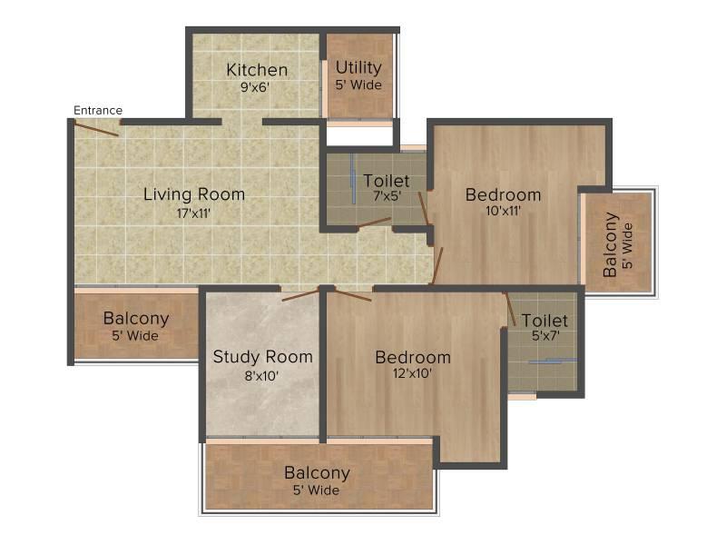 DSD Novena Green (2BHK+2T (1,225 sq ft)   Study Room 1225 sq ft)