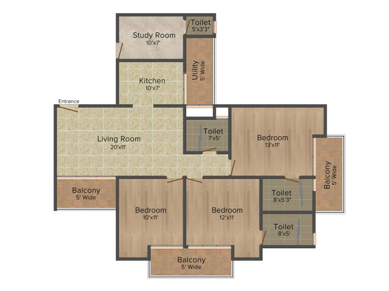 DSD Novena Green (3BHK+3T (1,656 sq ft)   Study Room 1656 sq ft)