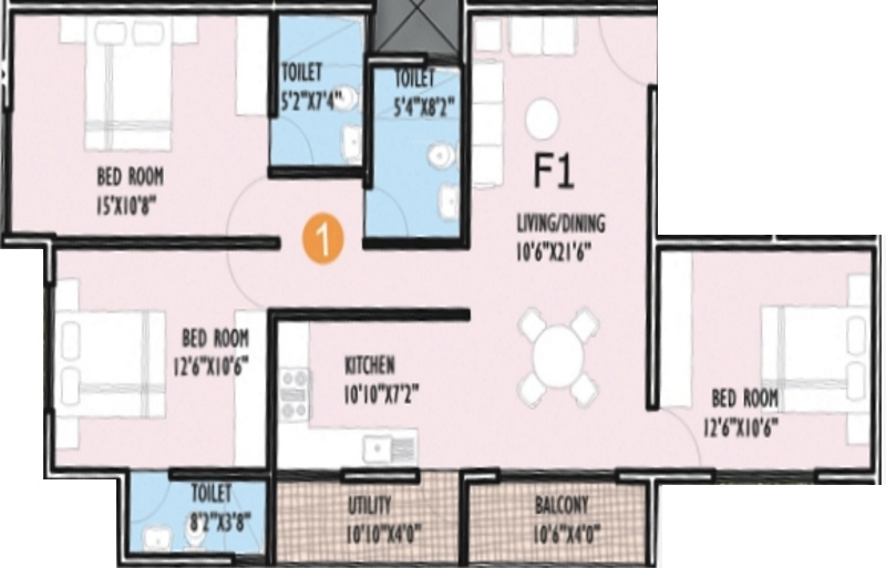 1300 Sq Ft 3 Bhk 3t Apartment For Sale In Innovative
