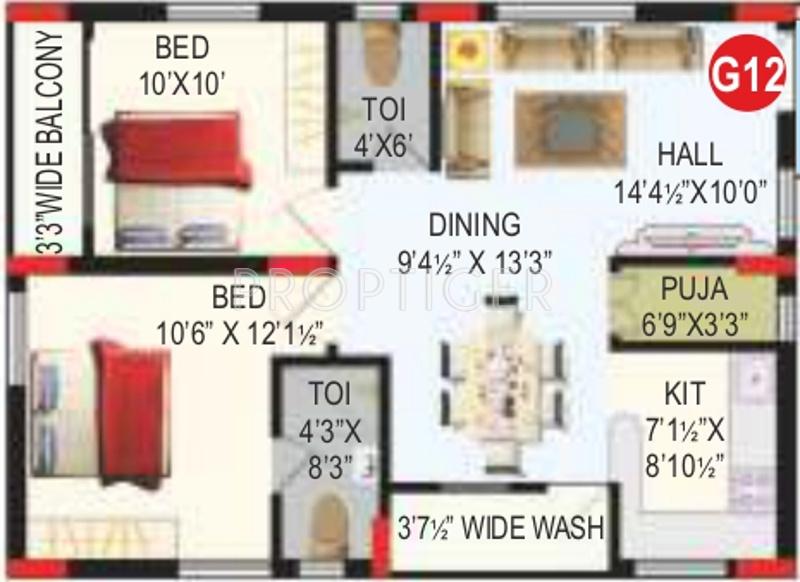 RV Bhaiji Panchajanya (2BHK+2T (1,260 sq ft)   Pooja Room 1260 sq ft)