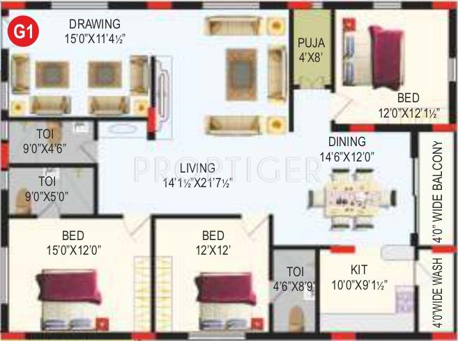RV Bhaiji Panchajanya (3BHK+3T (1,800 sq ft)   Pooja Room 1800 sq ft)