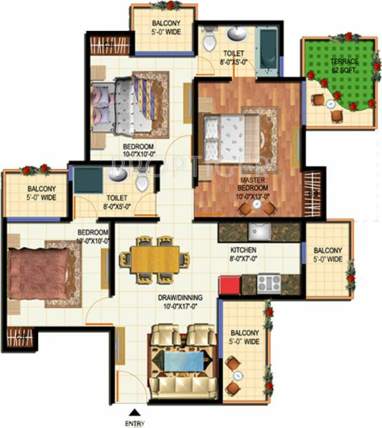 Amrapali O2 Valley (3BHK+2T (1,185 sq ft) 1185 sq ft)
