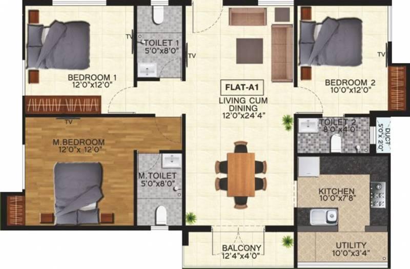 Natwest Vistas (3BHK+3T (1,490 sq ft) 1490 sq ft)