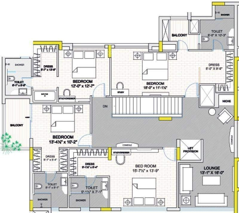 7000 sq ft 5 bhk 6t apartment for sale in koncept ambience for Floor plans 7000 sq ft