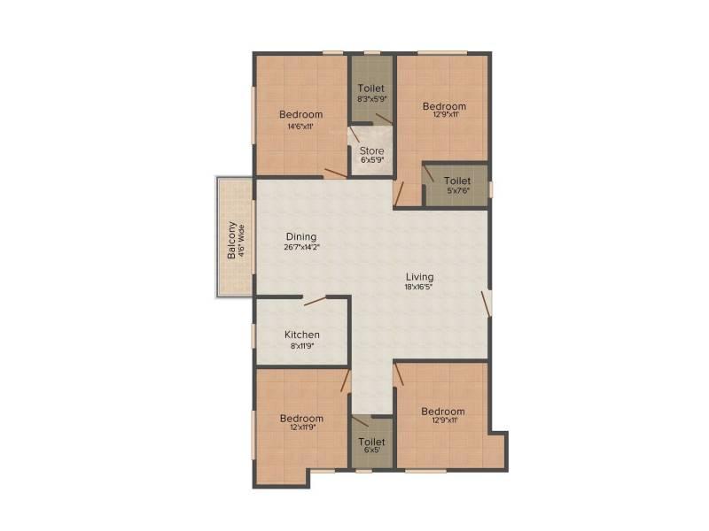 Banyan Residency (4BHK+3T (2,277 sq ft) 2277 sq ft)