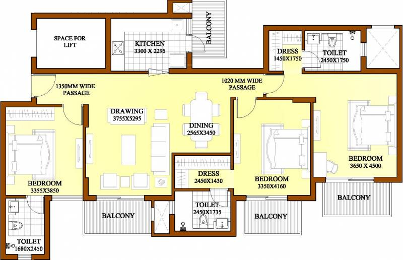 1800 sq ft 3 bhk floor plan image ats green dolce for 1800 50 floor
