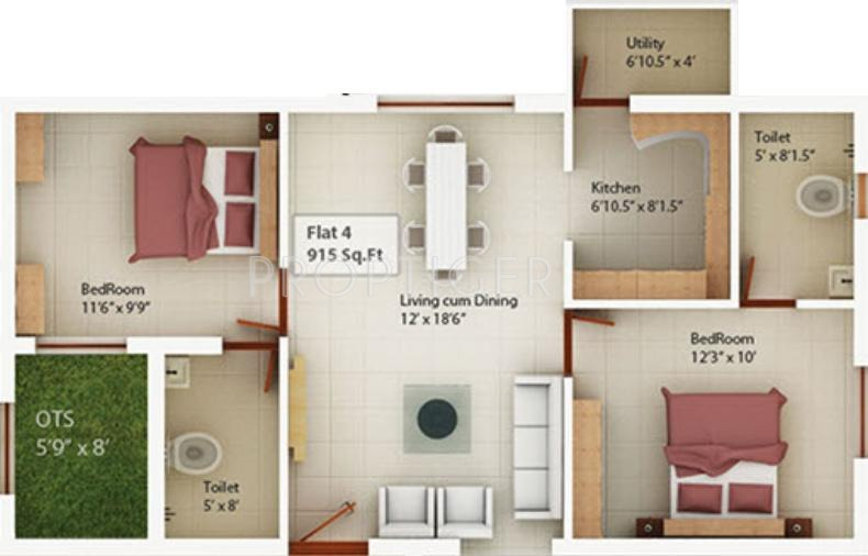 Sagas Coral Springs (2BHK+2T (915 sq ft) 915 sq ft)
