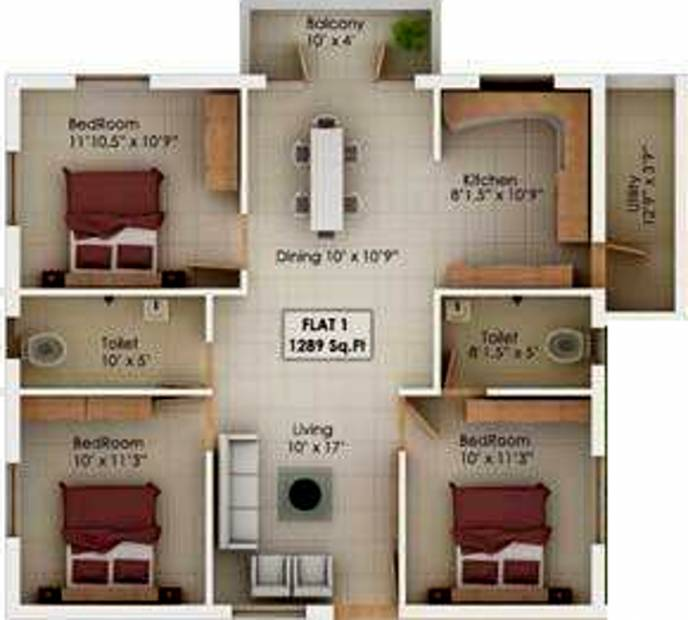 Sagas Coral Springs (3BHK+3T (1,289 sq ft) 1289 sq ft)
