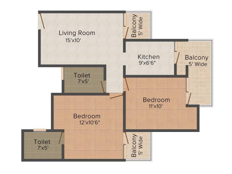 Aims Angel Golf Avenue II (2BHK+2T (930 sq ft) + Study Room 930 sq ft)