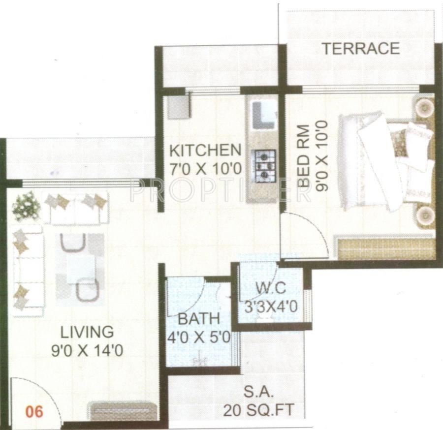 675 sq ft 1 bhk 1t apartment for sale in patel enterprises for 675 sq ft floor plan