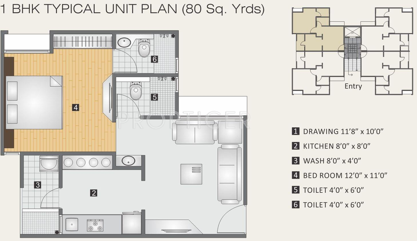 720 Sq Ft Apartment Floor Plan Of 720 Sq Ft 1 Bhk 2t Apartment For Sale In Aagam 99
