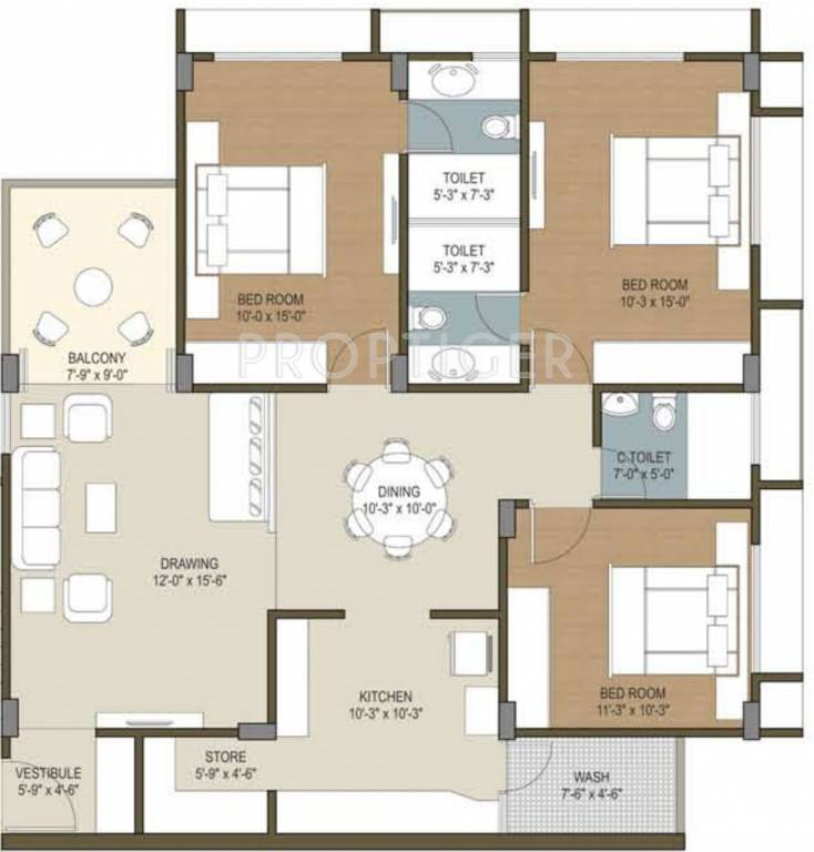House Plan For 16 Feet By 54 Feet Plot Plot Size 96: 1900 Sq Ft 3 BHK 3T Apartment For Sale In Deep Group