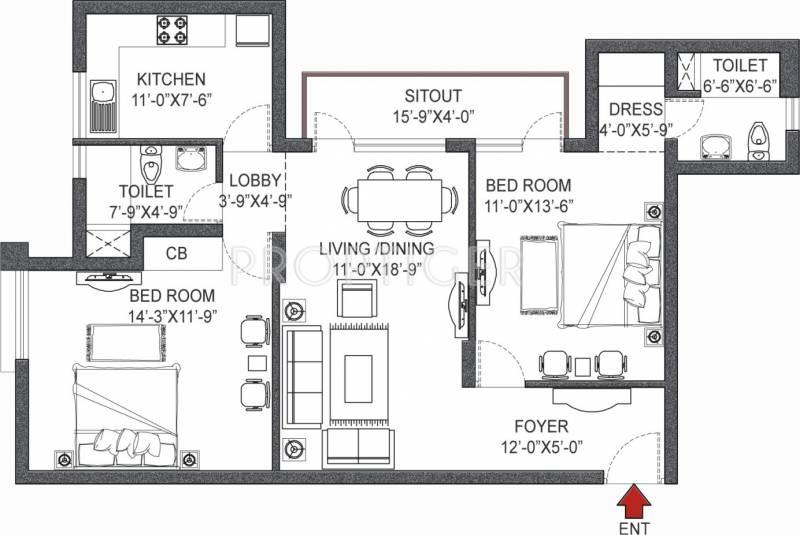 Vipul Pratham Apartments (2BHK+2T (1,344 sq ft) 1344 sq ft)