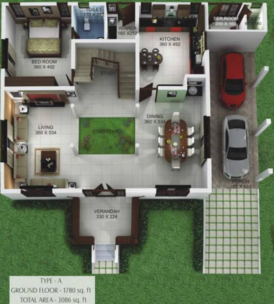 3086 sq ft 4 bhk floor plan image kent constructions for Single storey nalukettu house plans