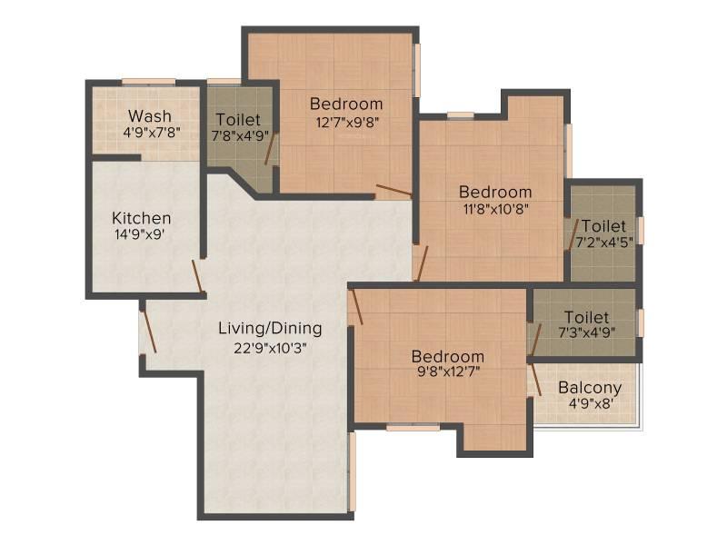 Infra Infra Prosper (3BHK+3T (1,355 sq ft) + Pooja Room 1355 sq ft)