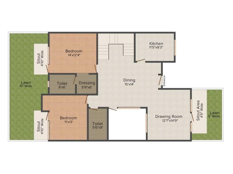 Ansal Olivewood Villa (3BHK+3T (2,305 sq ft) 2305 sq ft)