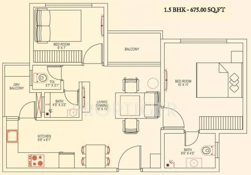 675 sq ft 2 bhk floor plan image groupco developers