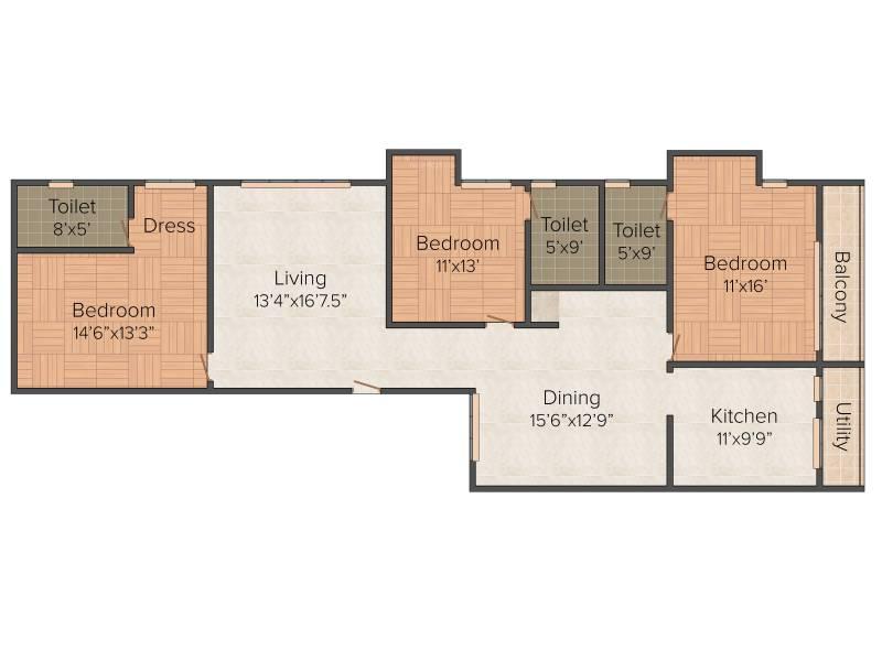 Star Star Dazzle (3BHK+3T (2,037 sq ft)   Pooja Room 2037 sq ft)