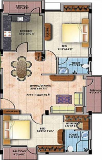 Star Star Crystal (2BHK+2T (1,339 sq ft)   Pooja Room 1339 sq ft)