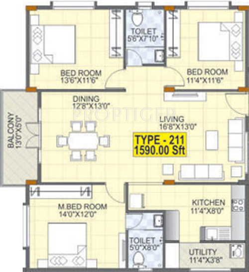 1590 Sq Ft 3 Bhk 2t Apartment For Sale In Mahaveer