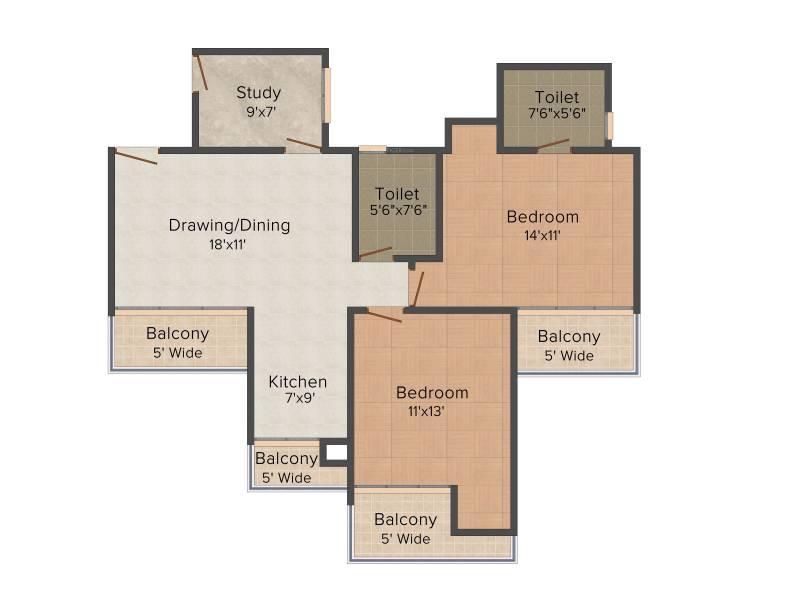 Mangalya Ophira (2BHK+2T (1,250 sq ft)   Study Room 1250 sq ft)