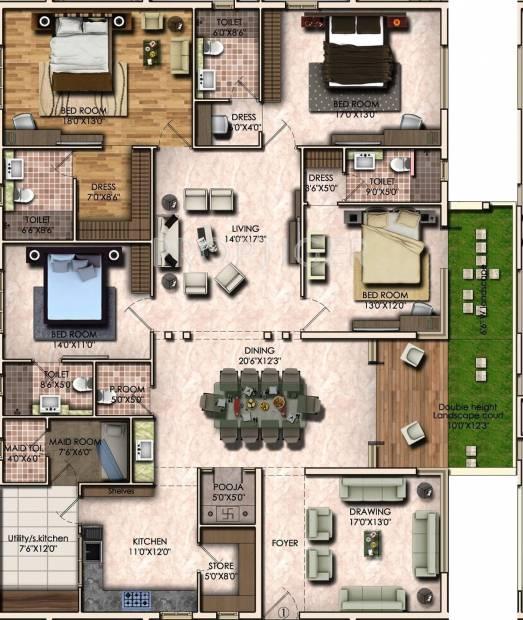 3400 Sq Ft 4 Bhk Floor Plan Image Vamsiram Jyothi Cosmos