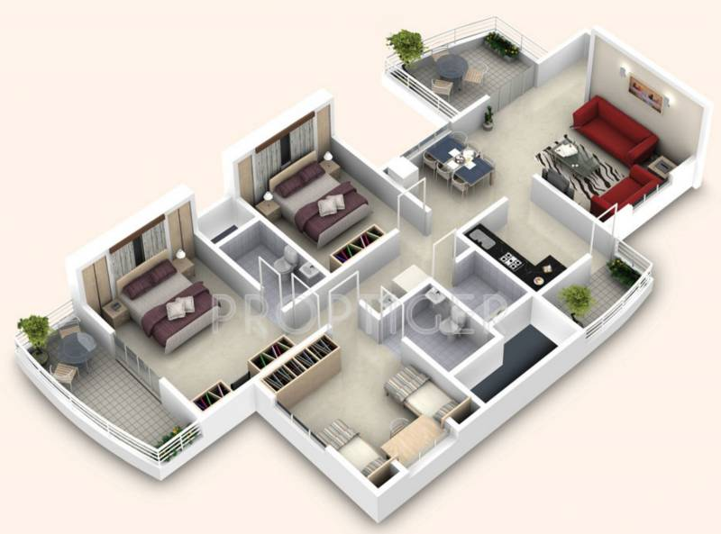 1200 Sq Ft 3 Bhk Floor Plan Image Builders Combine Bella