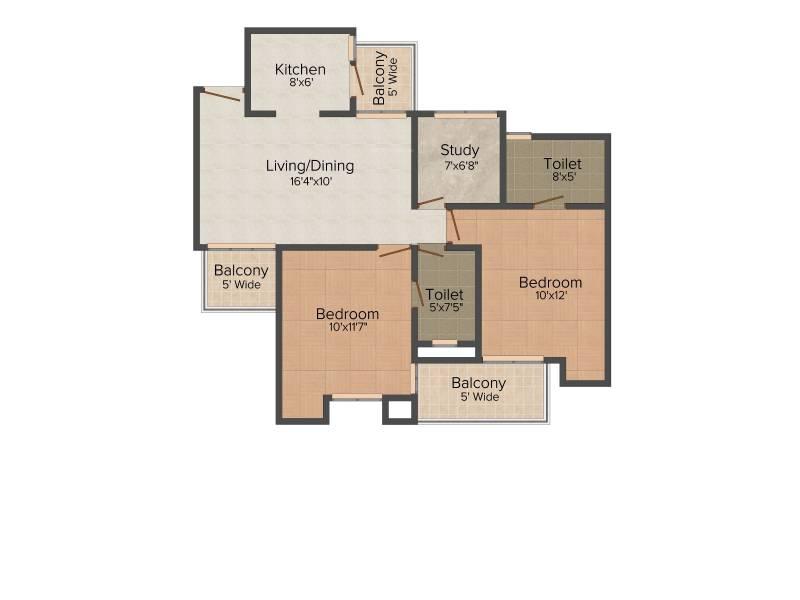 Nirala Greenshire (2BHK+2T (1,060 sq ft) + Study Room 1060 sq ft)