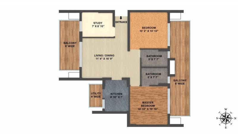 ILD Arete (2BHK+2T (1,325 sq ft)   Study Room 1325 sq ft)